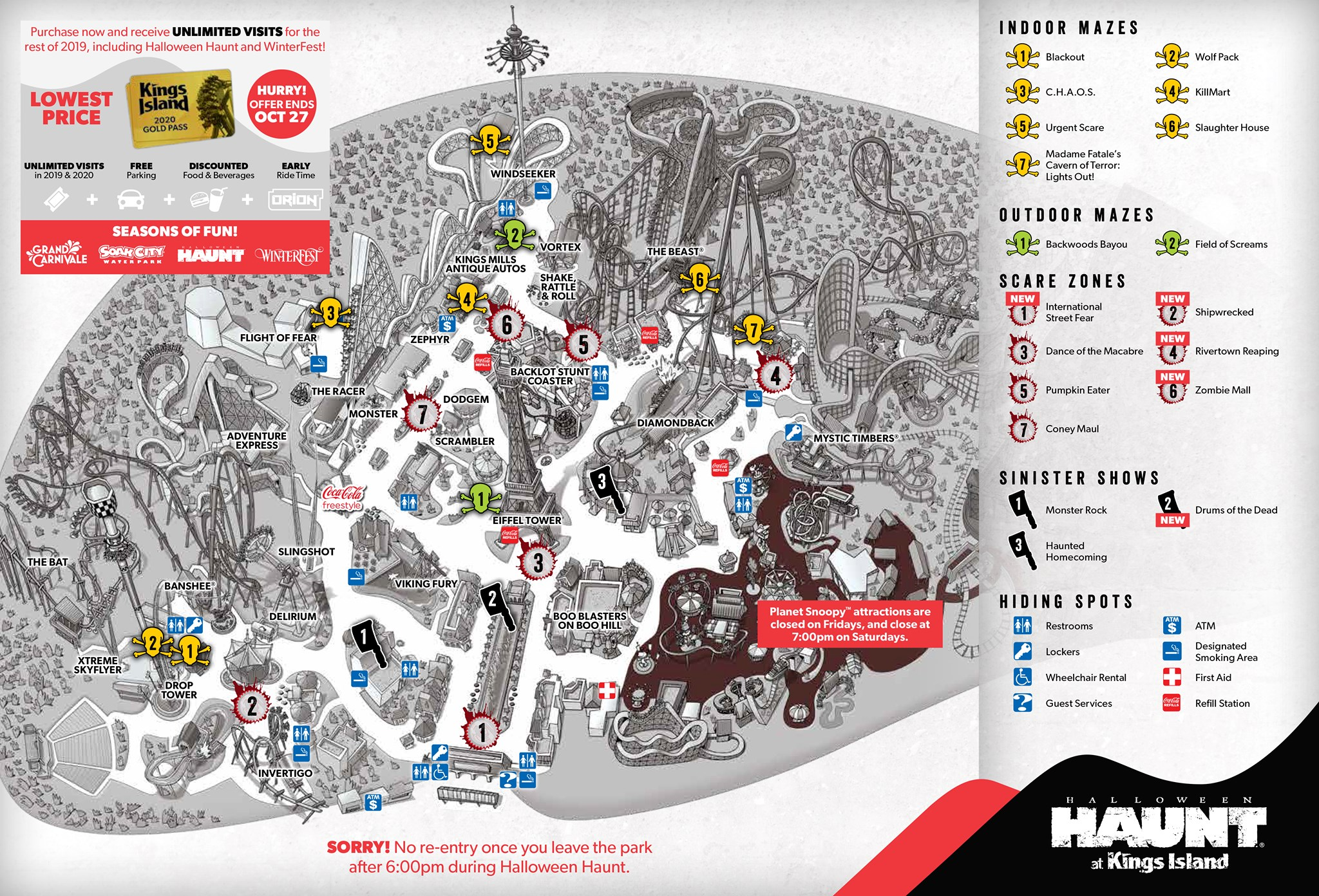 2012 Kings Island Park Map featuring the 40th Anniversary of the park